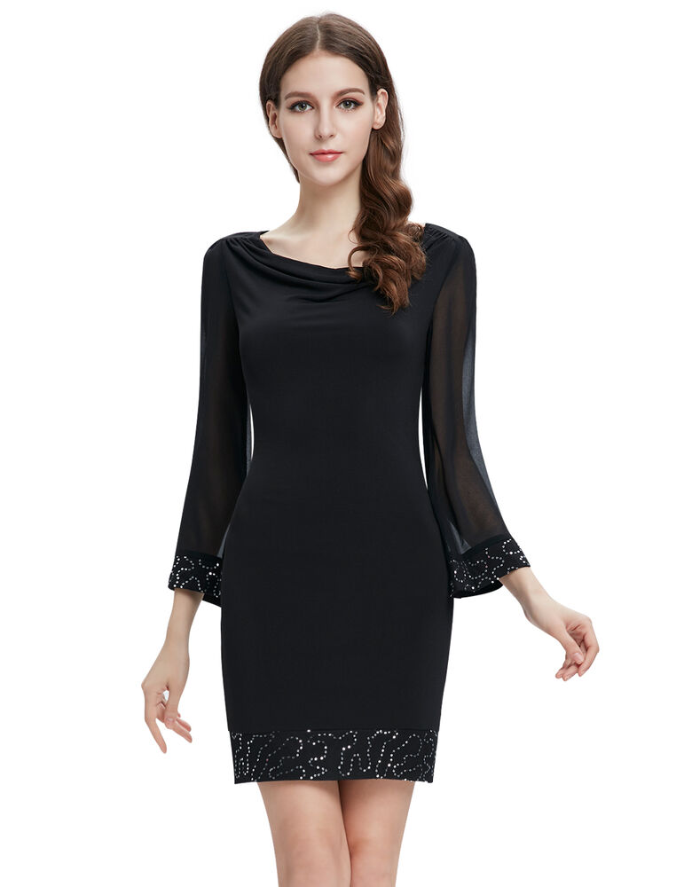 Ever Pretty Black Long Sleeve Womens Short Cocktail Winter ...