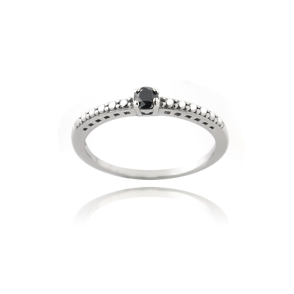 925 Silver 1 10ct Black Diamond Promise Ring