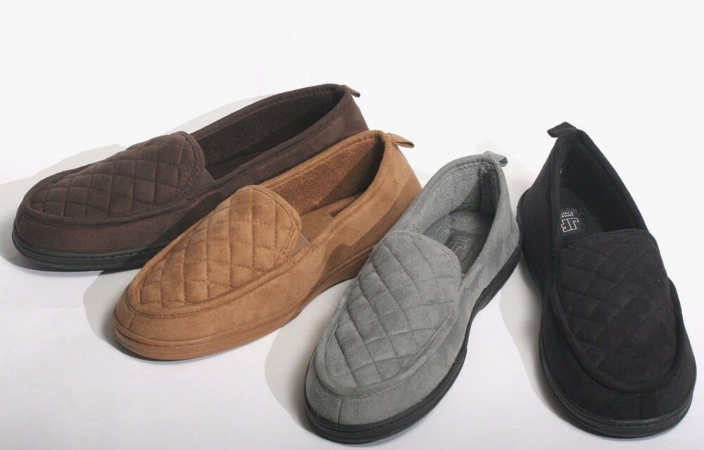 New men 39 s faux suede warm and cozy winter house slippers shoes sandals loafers ebay for Mens bedroom slippers size 14