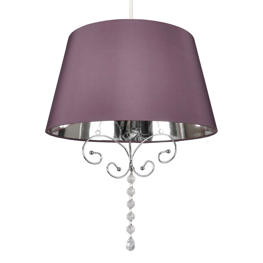 modern purple chrome faux silk ceiling pendant light