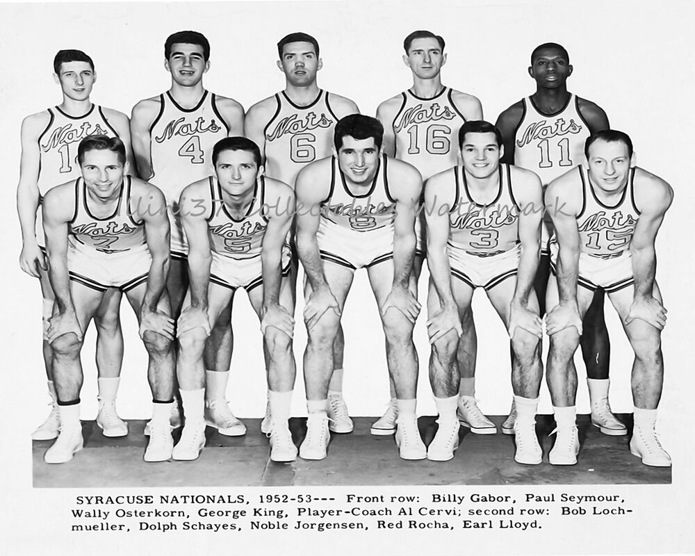 1952 53 SYRACUSE NATIONALS NBA BASKETBALL 8X10 TEAM PHOTO CERVI