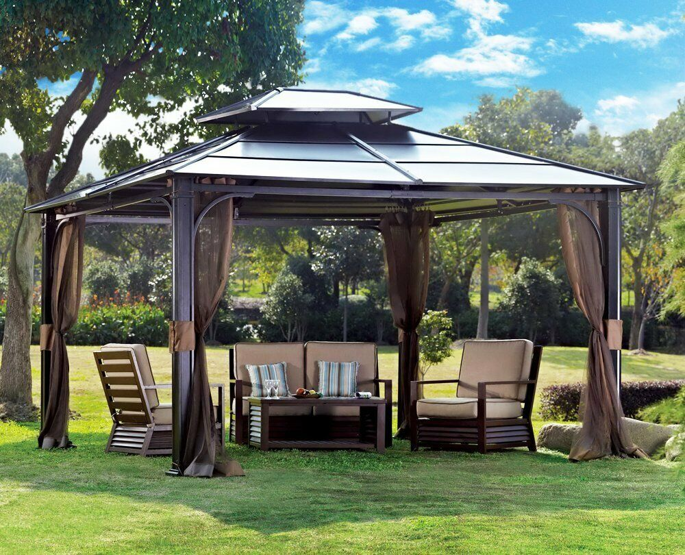 10 x 12 hardtop metal steel roof outdoor patio gazebo w. Black Bedroom Furniture Sets. Home Design Ideas