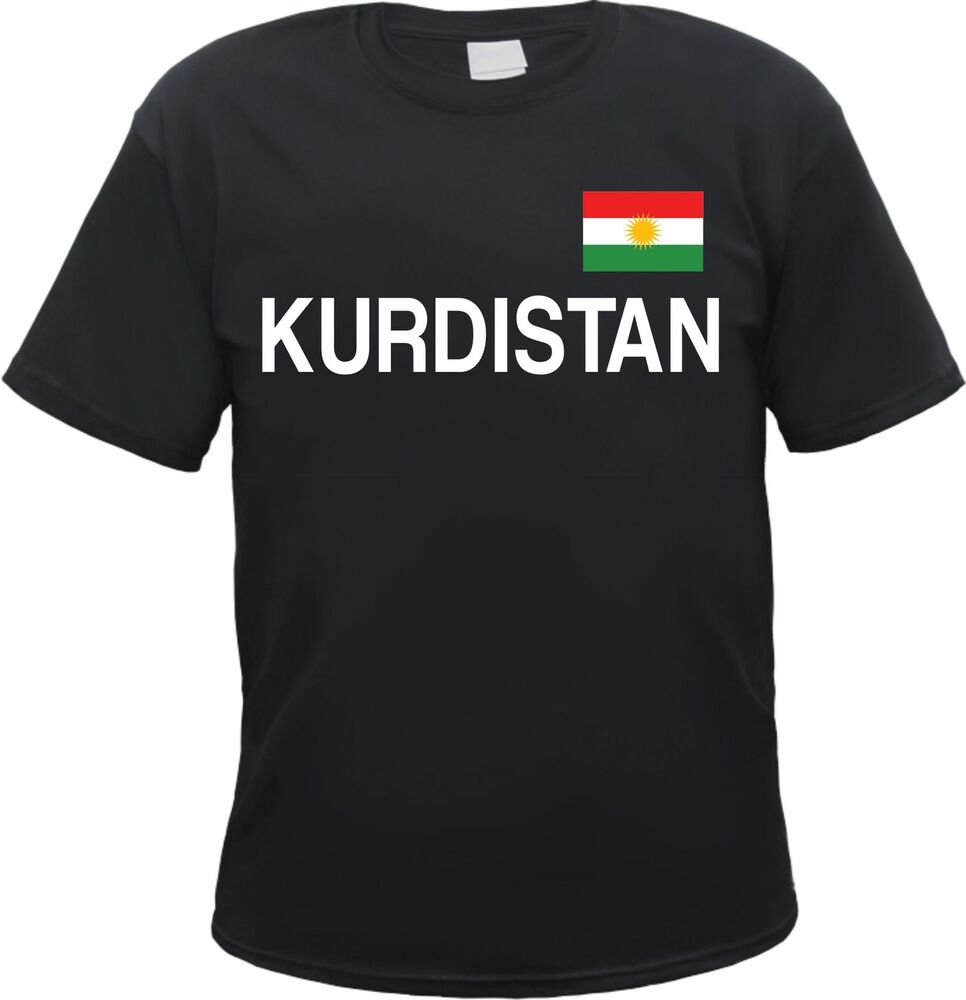 kurdistan t shirt schwarz weiss mit flagge druck s. Black Bedroom Furniture Sets. Home Design Ideas