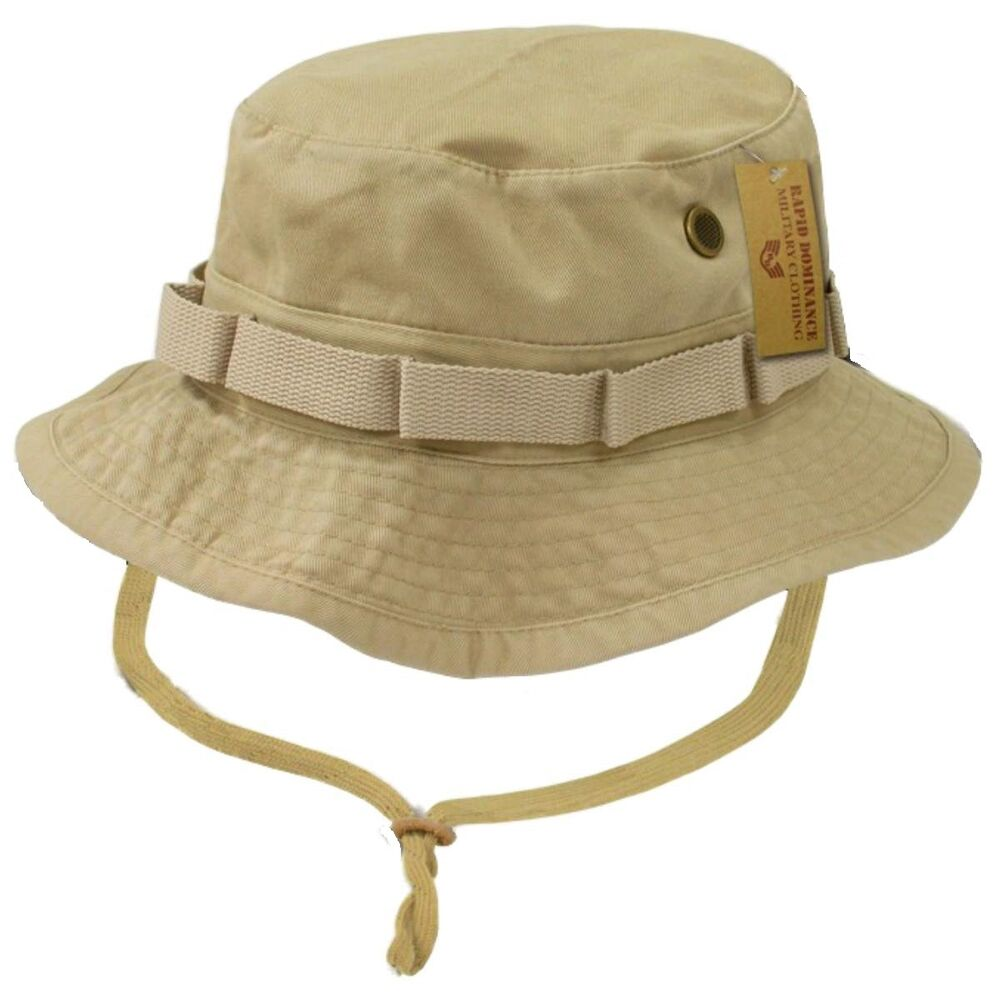 Khaki military boonie hunting army fishing bucket jungle for Fishing bucket hat