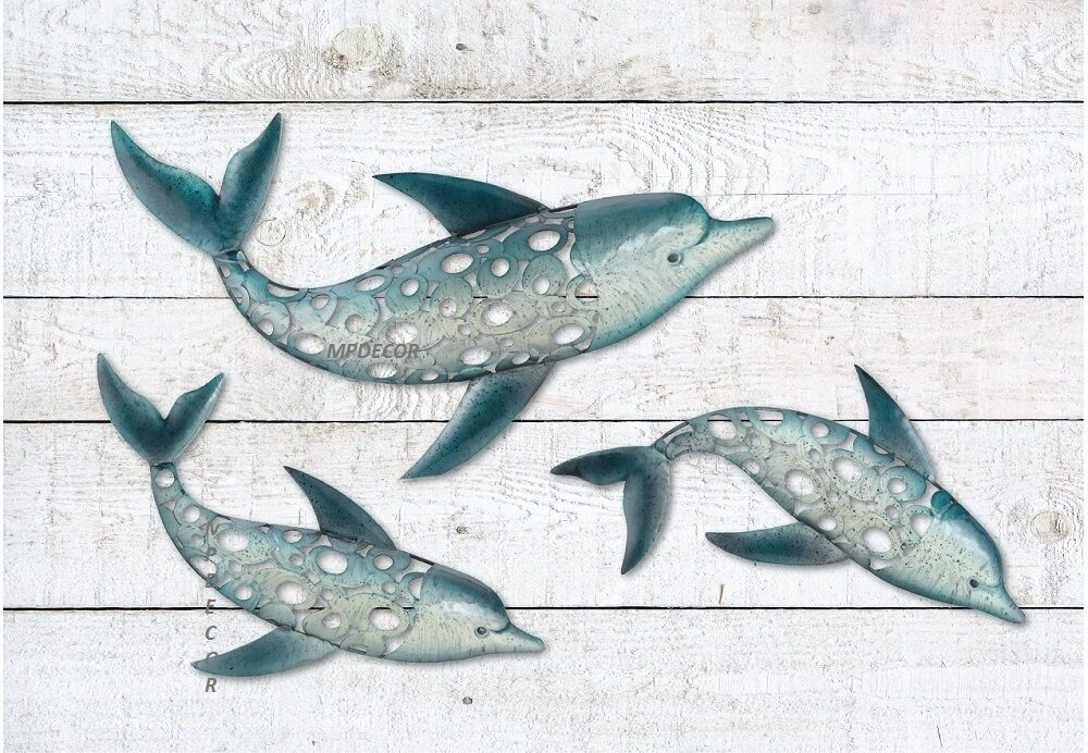 Dolphin fish wall art metal coastal nautical beach indoor for Metal fish art wall decor