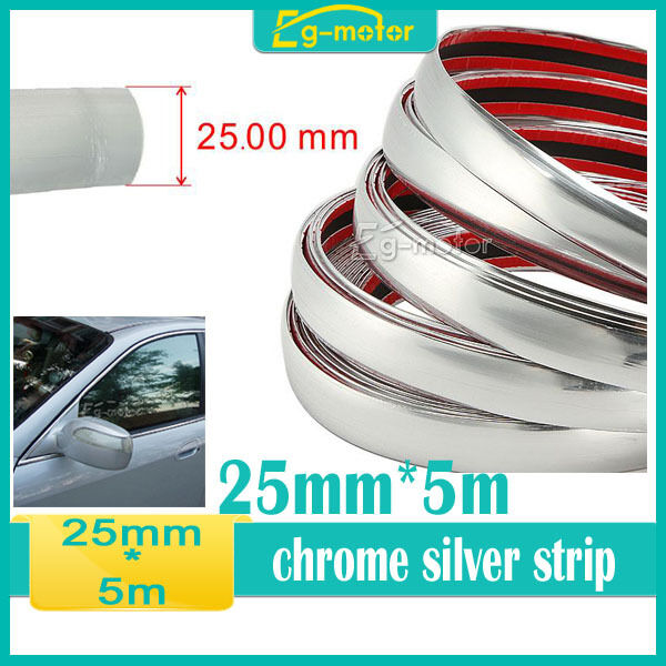 25mm x 5m universal car side trim molding interior chrome silver strip u style ebay. Black Bedroom Furniture Sets. Home Design Ideas