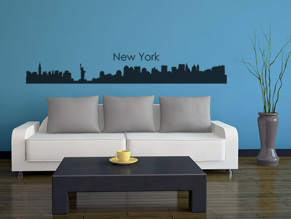 wandtattoo wandsticker skyline st dte new york wandaufkleber wohnzimmer flur ebay. Black Bedroom Furniture Sets. Home Design Ideas
