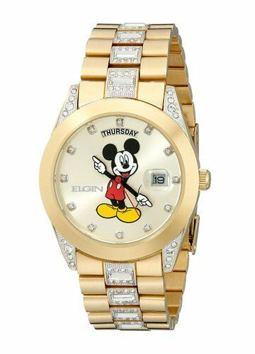 new mens elgin disney mickey mouse mck209 day date gold