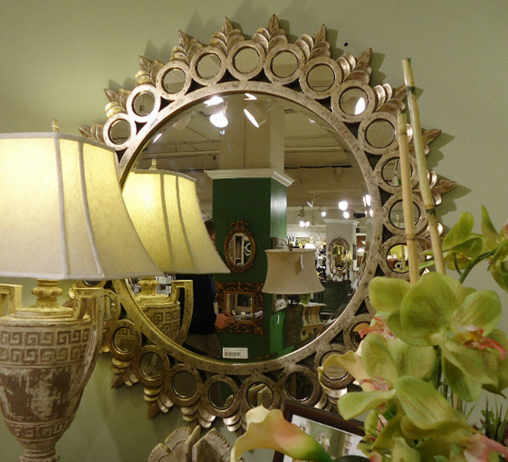 Porterdale decorative round designer wall mirror large 44 for Mirror decor