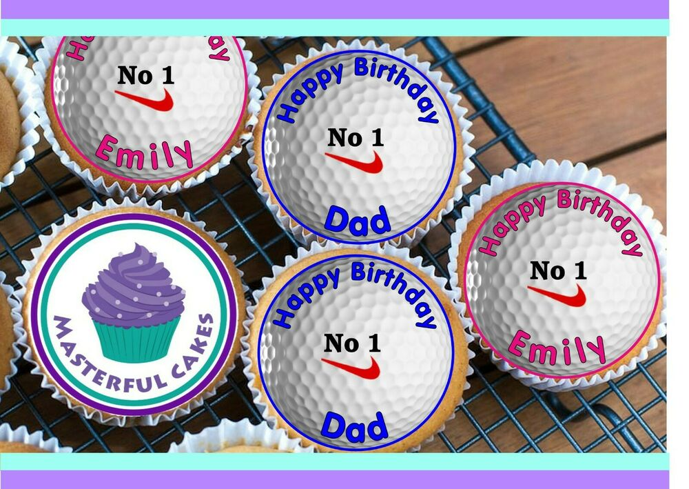 Cake Decorations Edible Balls : 24 PERSONALISED GOLF BALL EDIBLE CUP CAKE TOPPERS eBay