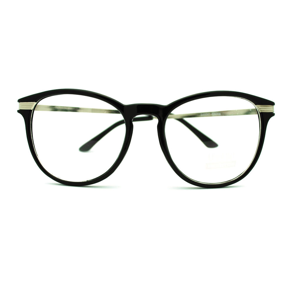 Black Frame Glasses For Oval Face : Metal Temple Nerdy Oval Round Plastic Frame Eye Glasses ...