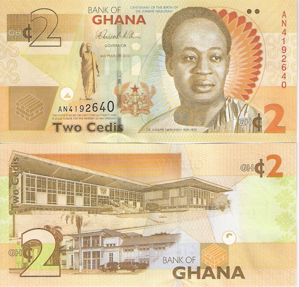 Money: GHANA 2 Cedis Banknote World Money Currency Africa Bill