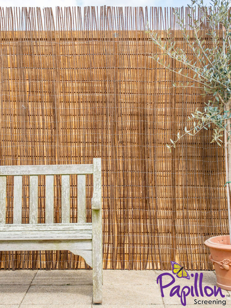Willow screening roll screen fencing garden fence panel for Wooden garden screen designs