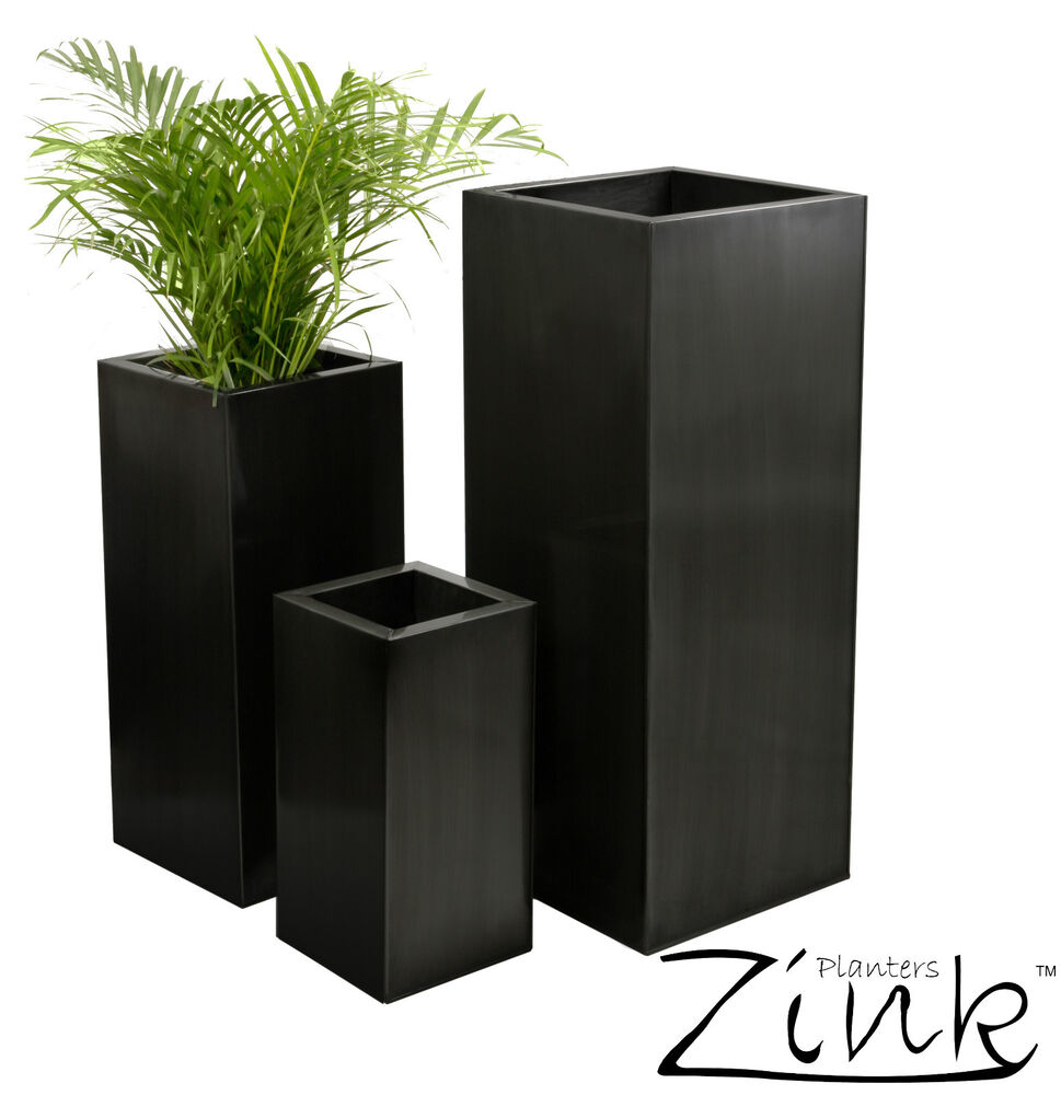 Tall Zinc Cube Metal Garden Planter Plant Pot Tub