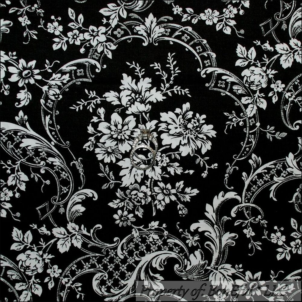Boneful fabric fq cotton quilt black white damask l flower for Victorian floral fabric