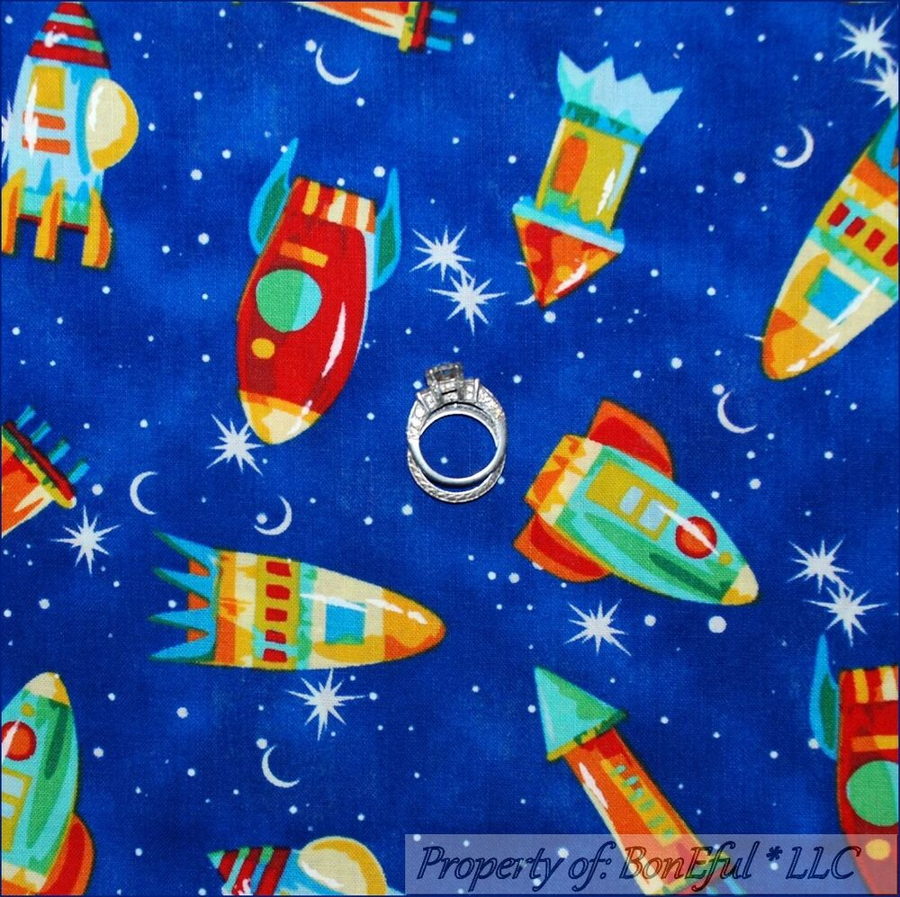 Boneful fabric fq cotton quilt blue red baby boy sky star for Space baby fabric