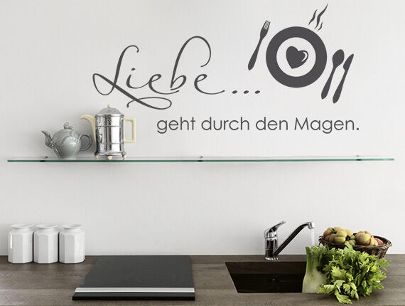 wandtattoo wandsticker spr che liebe geht durch den magen k chen wand tattoos ebay. Black Bedroom Furniture Sets. Home Design Ideas