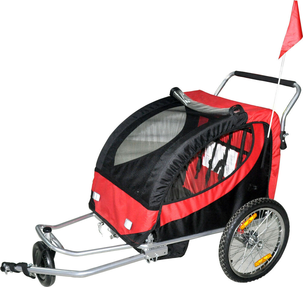double swivel red 3in1 bicycle bike trailer baby stroller. Black Bedroom Furniture Sets. Home Design Ideas