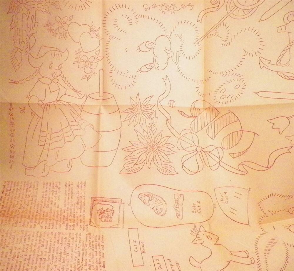 Embroidery transfer pattern iron on crafts vintage animals
