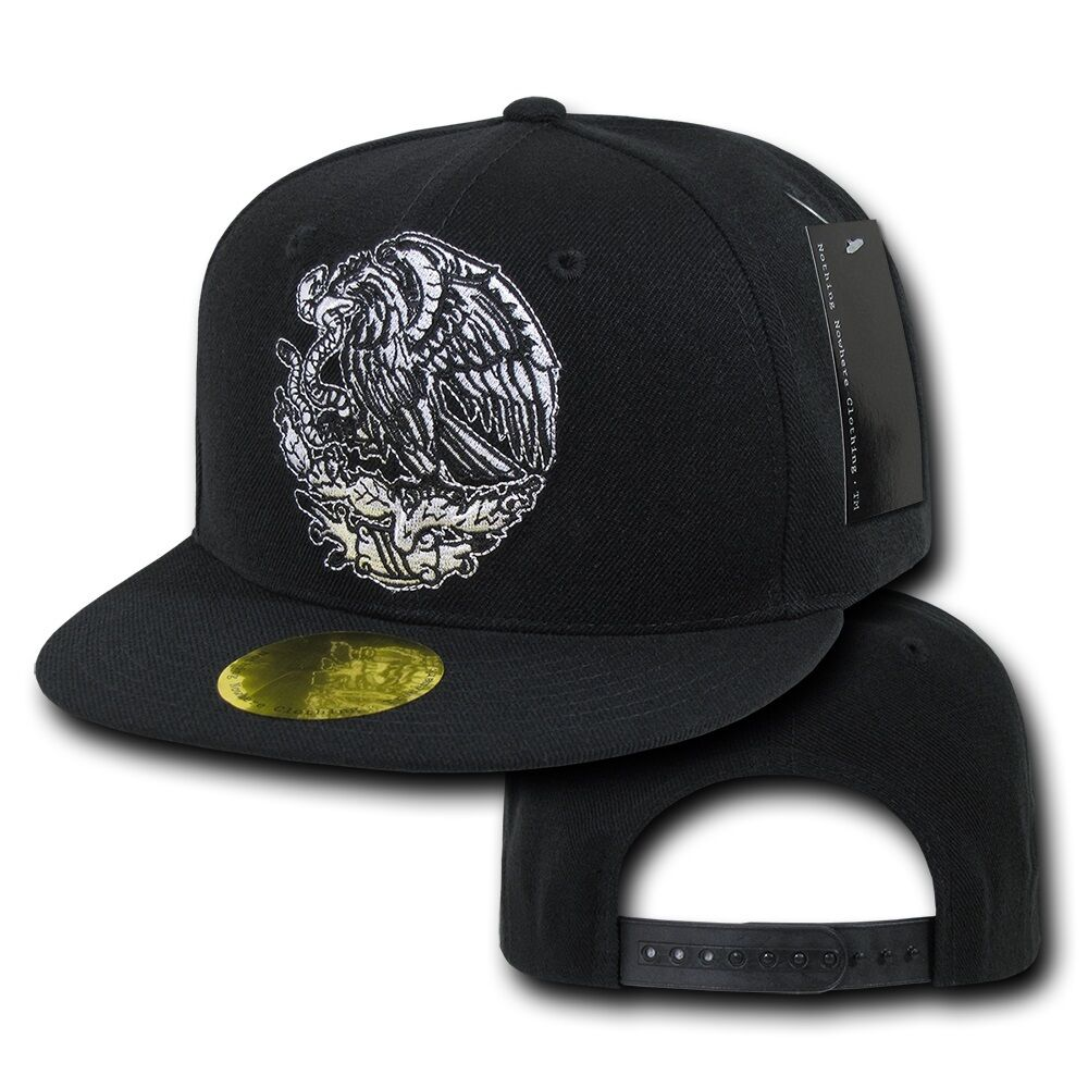 Black Mexican Flag Mexico Country Embroided Flat Snapback