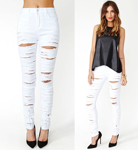 White Destroyed Ripped High Waist Stretch Skinny Pencil Jeans ...
