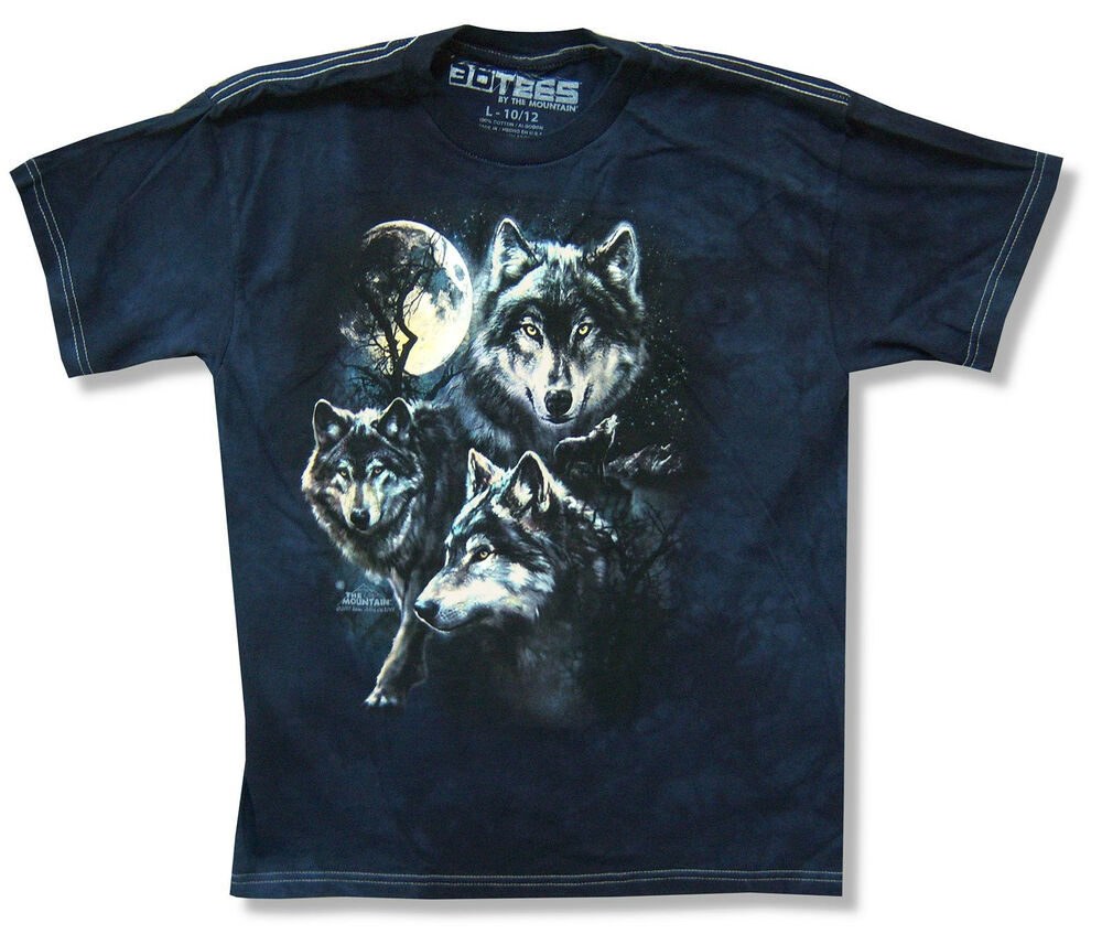 The mountain wolf pack navy blue tie dye t shirt new for Black and blue tie dye t shirts
