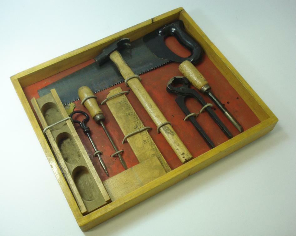 1950s vintage child youth construction tools set w case ebay. Black Bedroom Furniture Sets. Home Design Ideas