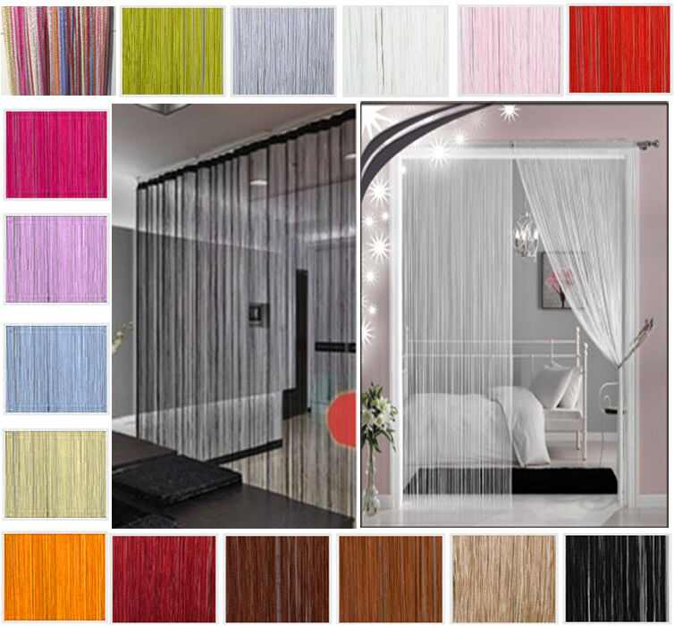 String curtains patio net fringe for door fly screen for Window dividers