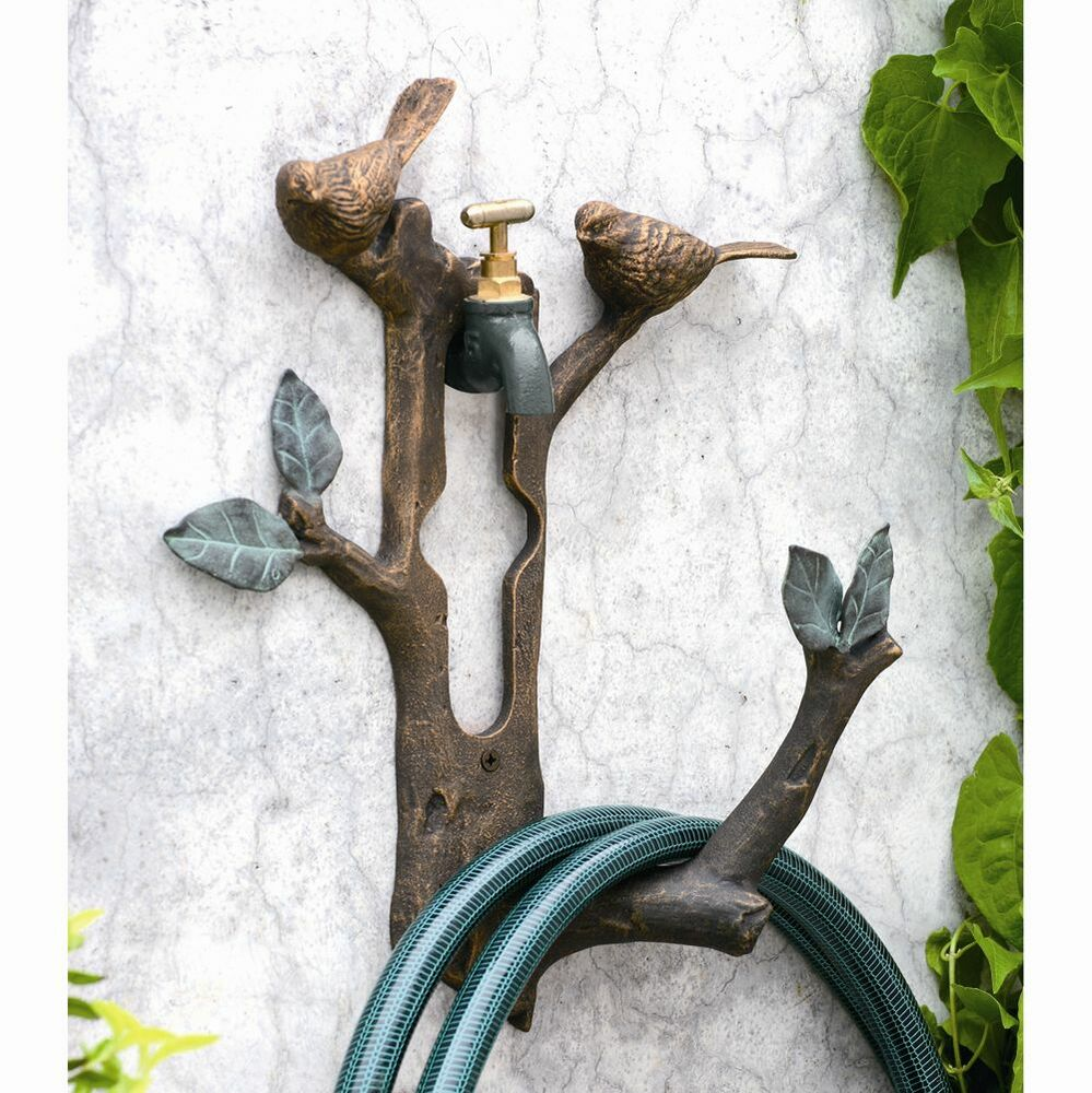 Bird branch wall spigot mounted hose holder decorative for Outdoor decorative items