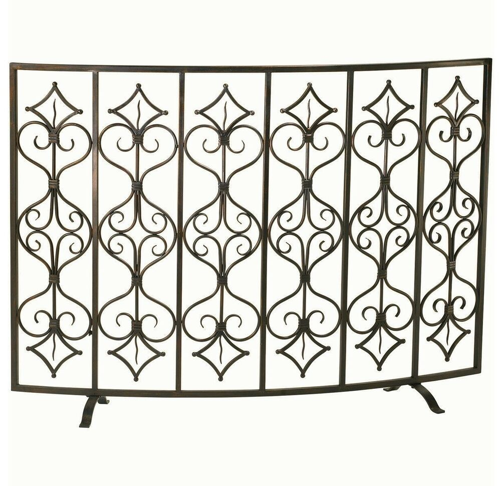 french tuscan curved casablanca fireplace fire screen antiqued iron 47 w ebay. Black Bedroom Furniture Sets. Home Design Ideas