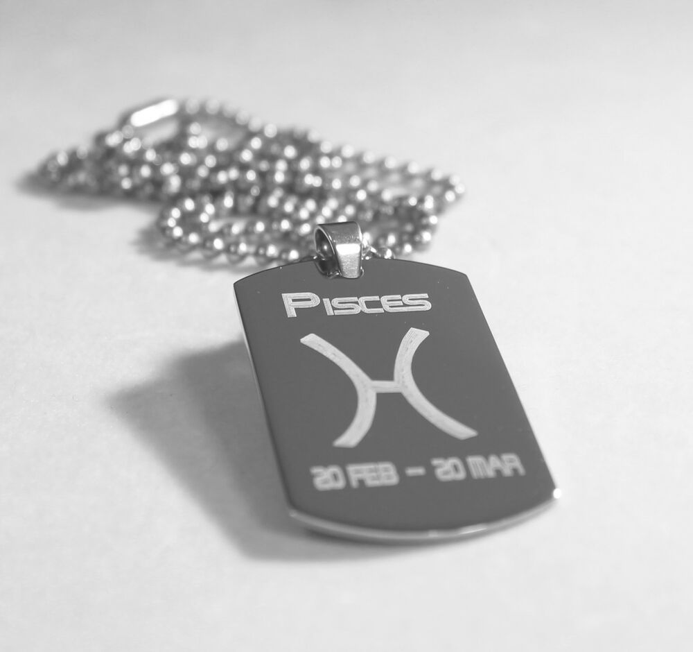 PISCES SOLID STAINLESS STEEL ZODIAC SIGN TRAITS DOG TAG