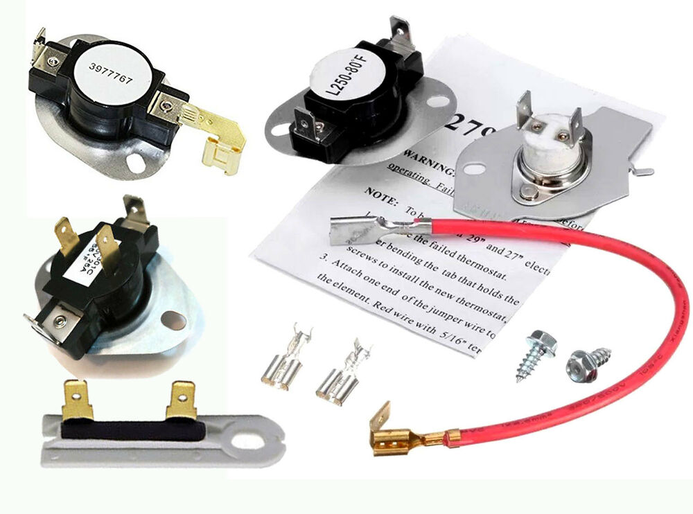Whirlpool 3977767 3392519 3387134 279816 Electric Dryer Thermostat Fuse Kit