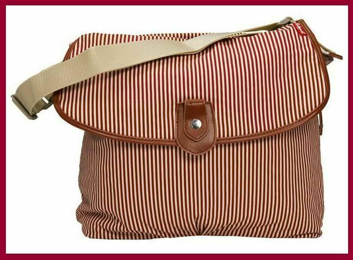 Babymel satchel nappy bag red stripe