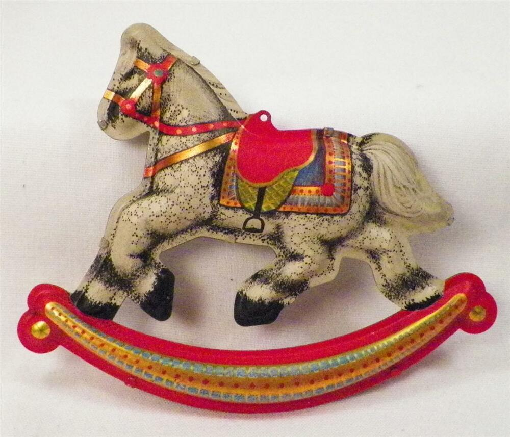 Tin rocking horse christmas ornament hallmark in ob