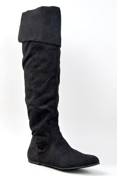 womens black faux suede above knee cowboy motorcycle