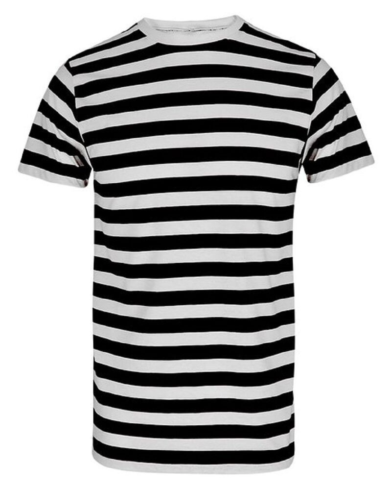 Break out from the norm, and take on the black and white striped shirt. Men can experience the color combination in traditional cuts. Explore polo shirts to find a white shirt striped with black lines, or the reverse—a black shirt striped with white streaks.