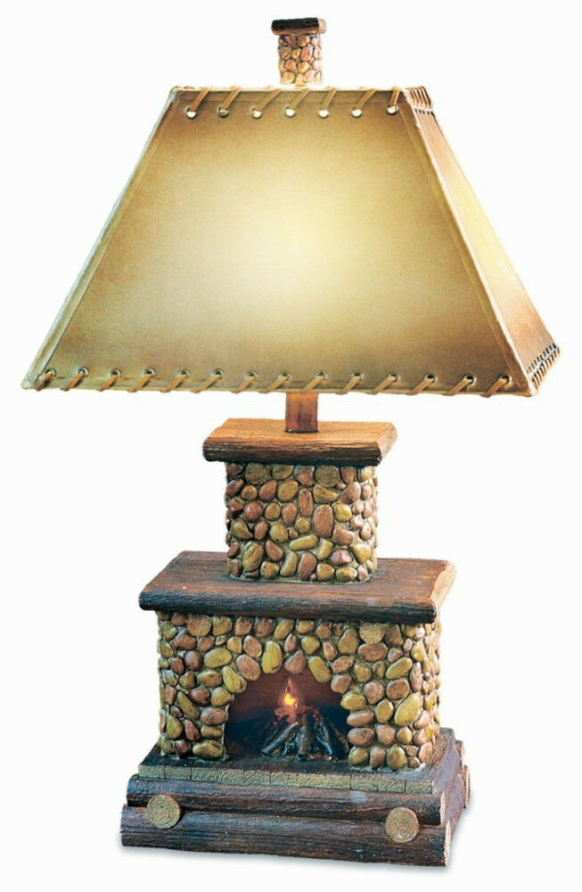 Stone Fireplace Table Lamp Flicker Flame Nightlight Rustic