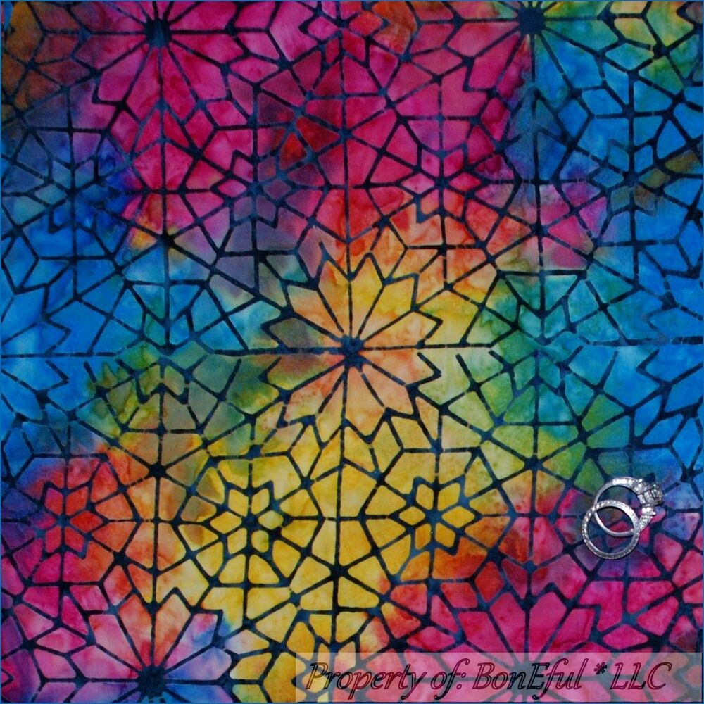BonEful Fabric FQ Cotton Quilt Rainbow BATIK Star