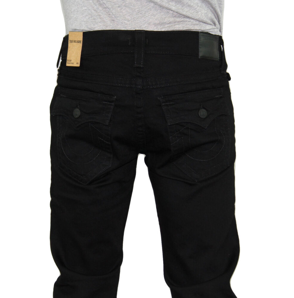 nwt true religion brand men 39 s ricky straight leg midnight black jeans pants ebay. Black Bedroom Furniture Sets. Home Design Ideas