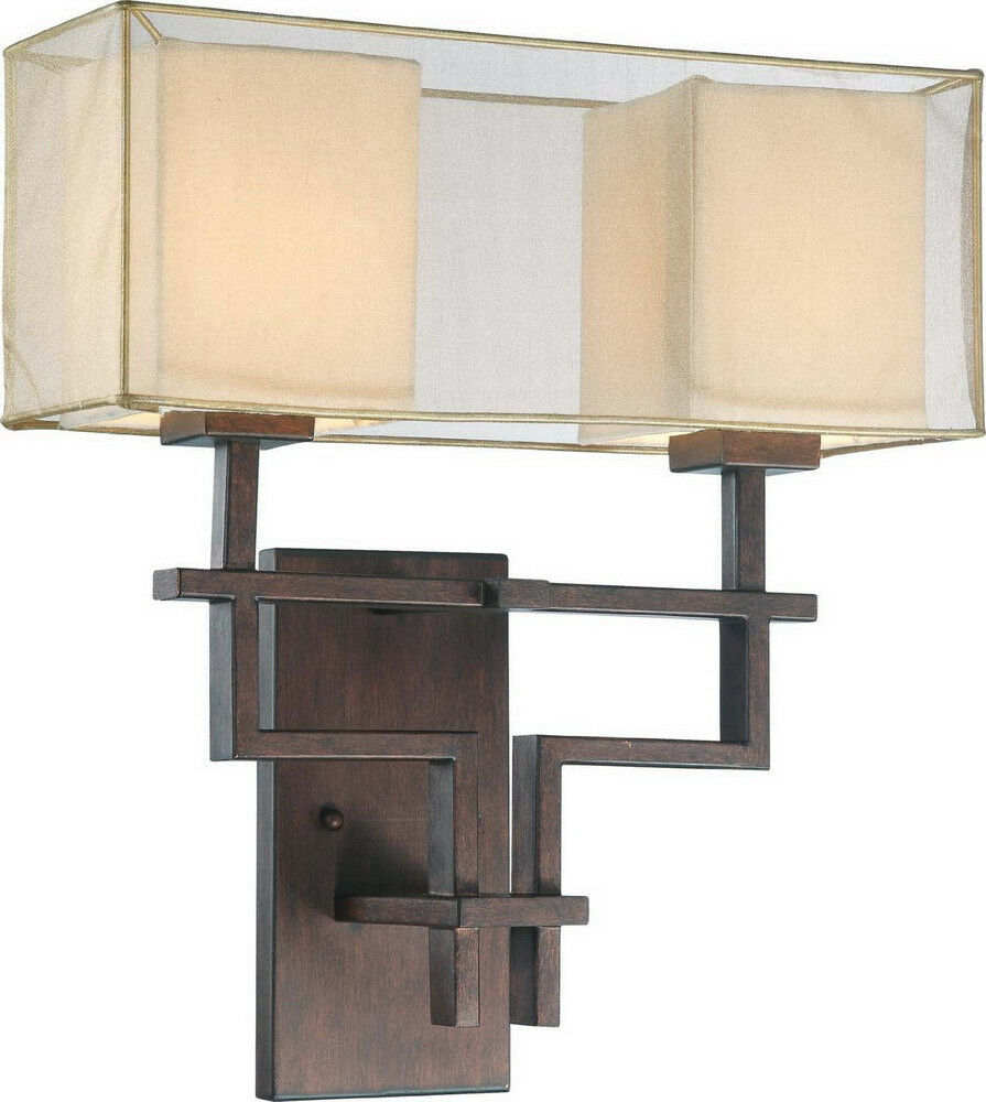 Single Light Wall Sconce With Crystals : Corvo Bronze 2 Light Wall Sconce With Linen Shades eBay