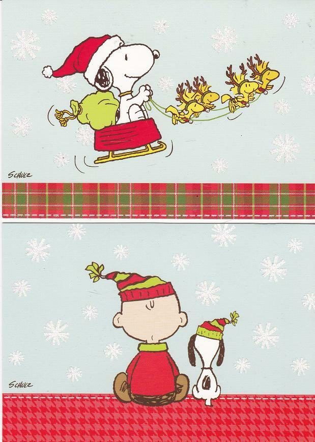 36 Snoopy & Woodstock & Charlie Brown Christmas Cards w/Glitter ...