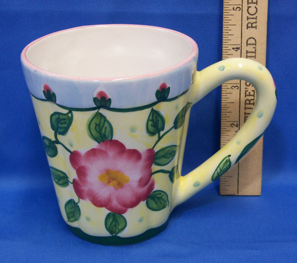 Coffee Mug Cup Hand Painted By Flowers Inc Balloons Pink