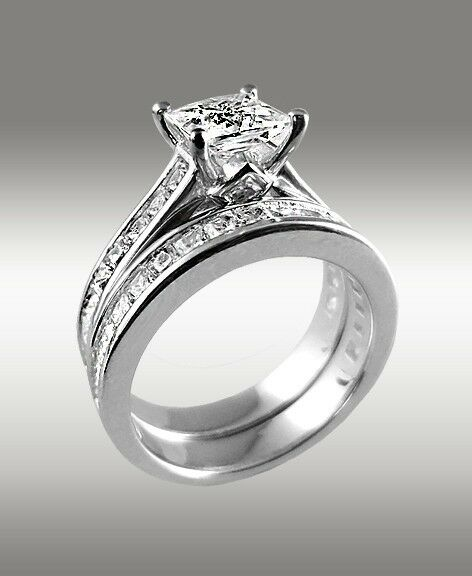 372ct princess cut engagement ring w matching wedding band 14k solid white gold ebay - Wedding Engagement Rings