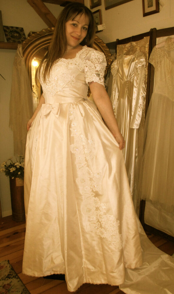 Vintage 1980 39 s champagne wedding gown by priscilla of for Wedding dresses boston cheap