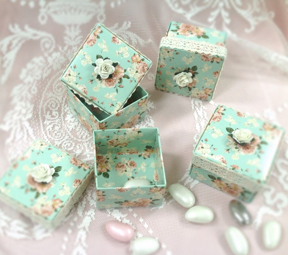 vintage shabby chic favour box ebay. Black Bedroom Furniture Sets. Home Design Ideas