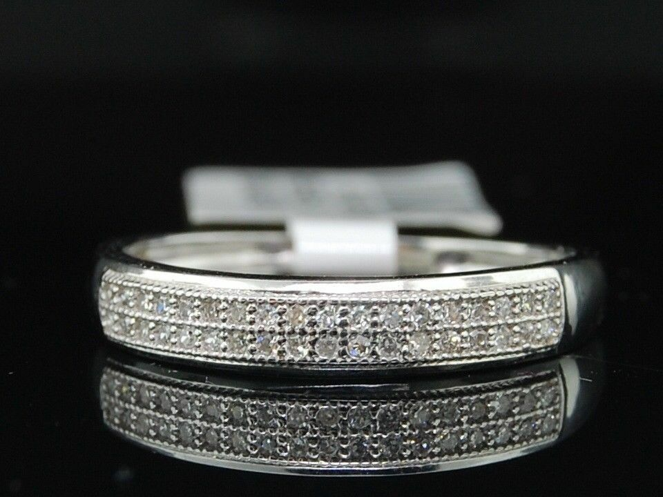 LADIES WOMENS 10K WHITE GOLD DIAMOND WEDDING BAND ENGAGEMENT BRIDAL RING SET