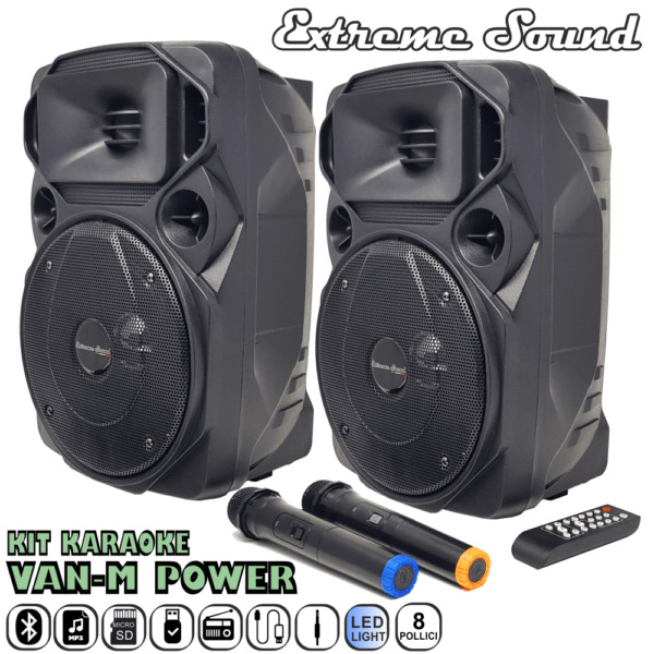 2 CASSE Audio 1300 Watt Extreme Sound Bluetooth USB RADIO FM KARAOKE VAN-M-POWER