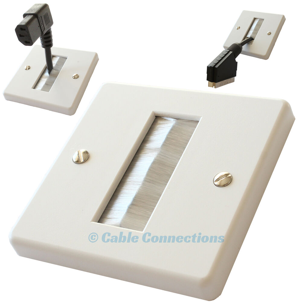 Cable Wall Plate : Single white brush audio av cable entry wall face plate