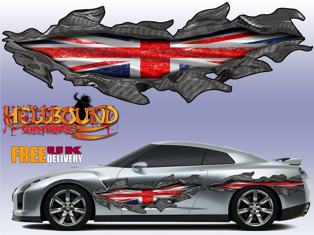 Pair Of Full Colour Union Jack Claw Marks Car Vinyl Decals