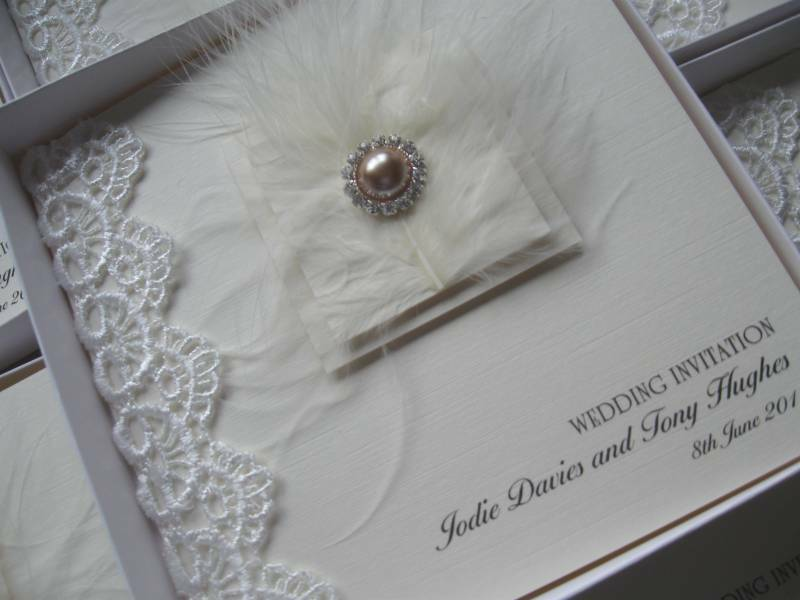 Wedding Invitations Lace And Pearl: Wedding Invitations - Lace, Feather & Pearls - Boxed